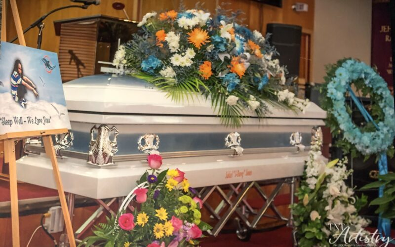 Jakeil Jones's casket at her funeral